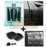 Wine Black Door Guard & Stick On Sunshade Black 4 Pcs
