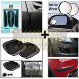 Wine Black Door Guard With Stick On Sunshade Black 4 Pcs, Universal Bumper Guard & Black Rear View Mirror