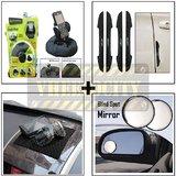 Bracketron Heavy Duty Mobile Holder & I Pop New Black Door Guard & Black Anti Slip Mat & Black Rear View Mirror