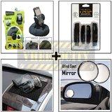 Bracketron Heavy Duty Mobile Holder & I Pop Black Door Guard & Black Anti Slip Mat & Black Rear View Mirror