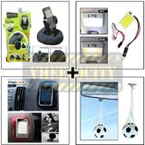 Bracketron Heavy Duty Mobile Holder & Square Roof Light & Spider Sticky Pad & Hanging Foot Ball Perfume