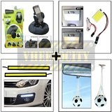 Bracketron Heavy Duty Mobile Holder & Square Roof Light & Hanging Foot Ball Perfume & Ultra Bright Day Time Running Light
