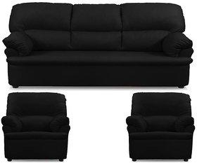 Earthwood -  Dennis  Five Seater  Sofa Set (3+1+1) in Black