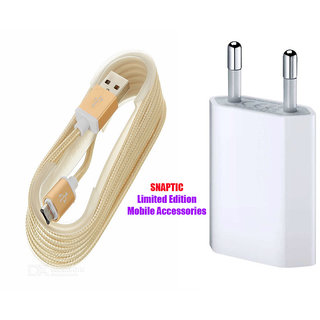 Snaptic Limited Edition Golden Micro USB V8 Cable and 2 Pin Travel Charger for Intex Aqua 3G Pro