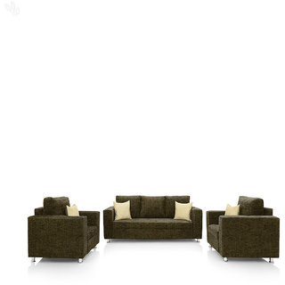 Earthwood -  Fully Fabric Upholstered Sofa Set 3+1+1 - Premium Valencia Moss Green
