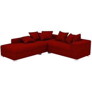 Earthwood Miami L Shape Sofa Set With Lounger In Red