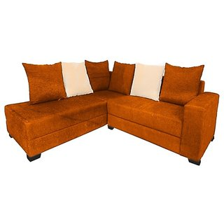Earthwood -  Berlin L Shape Sofa Set with Lounger in Orange