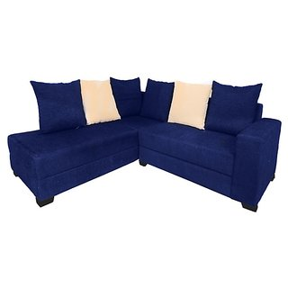 Earthwood -  Shenzen L Shape Sofa Set with Lounger in Blue