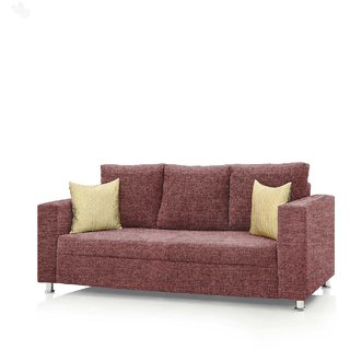 Earthwood -  Fully Fabric Upholstered Three-Seater Sofa - Premium Valencia Coral Pink