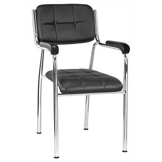Earthwood - Fabric And Steel Black Finish Office Chairs In Black