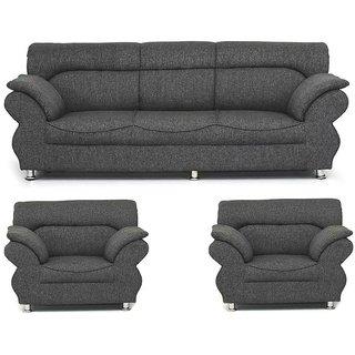 Earthwood - Jamaica Dark Grey 3+1+1 Five Seater Sofa Set