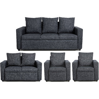 Scotty  Travis Agnesia Grey Fabric (3+2+1+1) Seater Queen Size Sofa Set