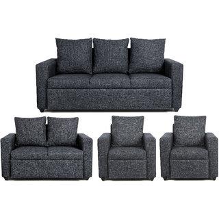 Scotty  Travis Agnesia Grey Fabric (3+2+1+1) Seater King Size Sofa Set