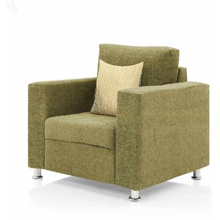 Earthwood -  Fully Fabric Upholstered Single-Seater Sofa - Premium Valencia Buff