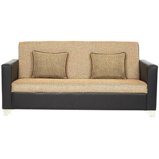 Scotty  Travis Aindrea Cream,Black Leatherette,Fabric (3+1+1) Seater Queen Size Sofa Set