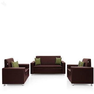 Earthwood -  Fully Leatherite Upholstered Sofa Set 3+1+1 - Premium Florence Maroon