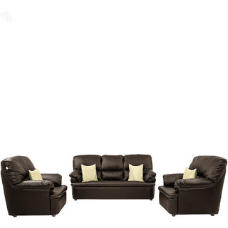 Earthwood -  Sofa Set 3+1+1 with Brown Leatherite Upholstery - Classic