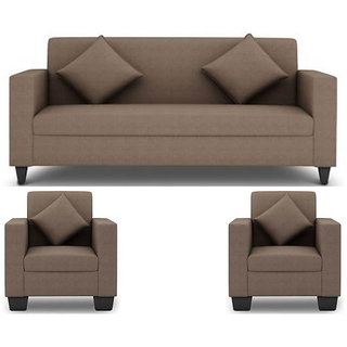 Earthwood - Jakarta 5 Seater (3+1+1) Sofa Set in Grey Upholstery with Cushions