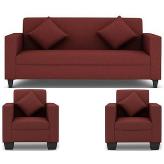 Earthwood - Jakarta 5 Seater (3+1+1) Sofa Set in Maroon Upholstery with Cushions