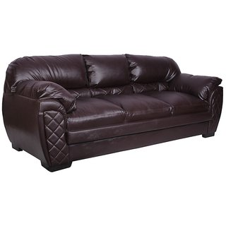Earthwood -Brayden 3 Seater Leatherite Sofa in Brown