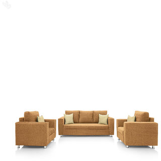 Earthwood   Fully Fabric Upholstered Sofa Set 3+1+1   Classic Valencia Cream Sofas