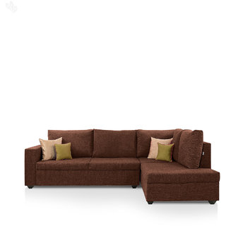 Earthwood -  Lounger Sofa L - Shape Design with Brown Fabric Upholstery - Classic