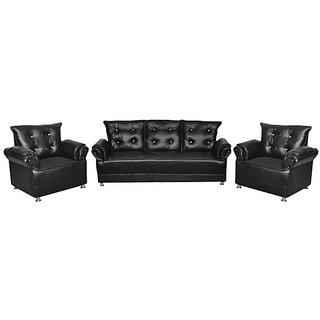 Earthwood -Seabury 5 Seater Leatherite Sofa Set (3+1+1) in Black