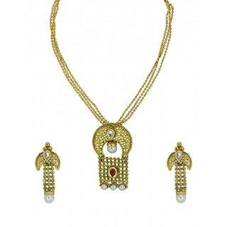 Zaveri Pearls Multistrand Gorgeous Gold Pendant Set  ZPFK5523