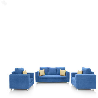 Earthwood -  Fully Fabric Upholstered Sofa Set 3+1+1 - Classic Valencia Blue
