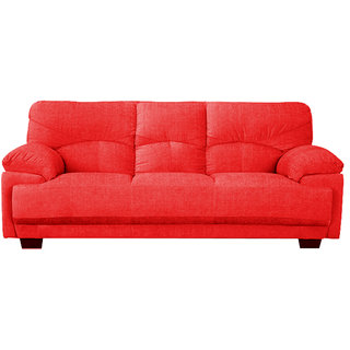 Scotty  Travis Agata Red Fabric (3+1+1) Seater Queen Size Sofa Set