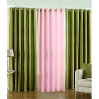 Deal Wala Pack Of 2 Green And 1 Light Pink Eyelet Door Curtain
