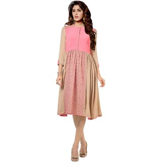 Kryptos Online Beige Colored Georgette Kurti.