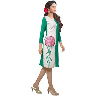 Kryptos Online White  Green  Colored Georgette Kurti.