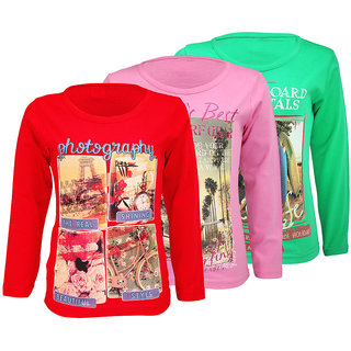 WEECARE GIRLS FULL SLEEVE TOP  DIGITAL PRINT (PACK OF 3)