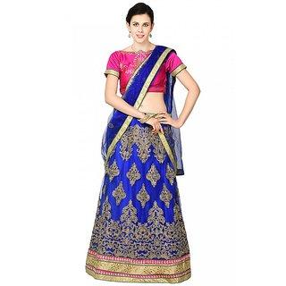 Chhabra 555 Blue Zari Embroidery Unstitched Net Lehenga Choli
