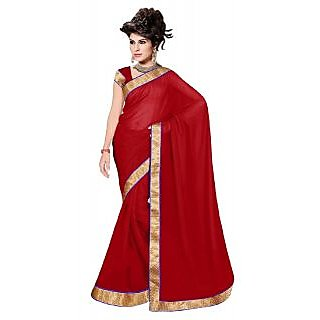 9e3ba90e0cf37 Buy Reena Red Plain Art Silk Saree With Blouse Online   ₹1150 from ShopClues