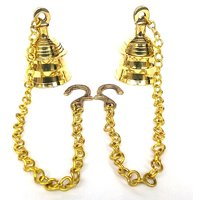 Kartique Pair Of Brass Hanging Bell With Chain (Bell He