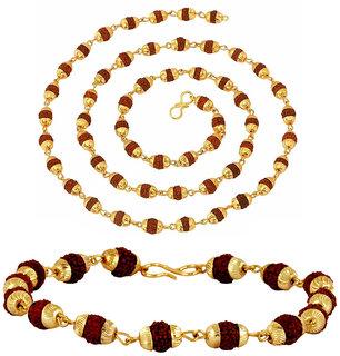 Gold Plated Rudraksh Beads Bracelet + Rudraksh Mala 28 Combo For Men