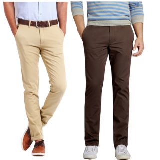 Merakapda Pack Of 2 Slim Fit Chinos-Beige Brown