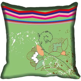 meSleep Green Floral Digitally Printed Cushion Cover (18x18)