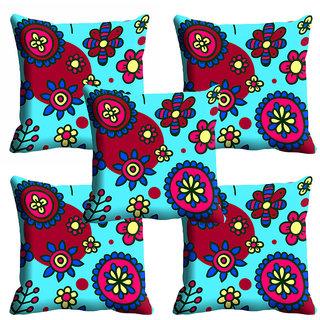 meSleep Blue Floral Cushion Cover (20x20)