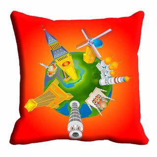 meSleep Orange Abstract Cushion Cover (20x20)