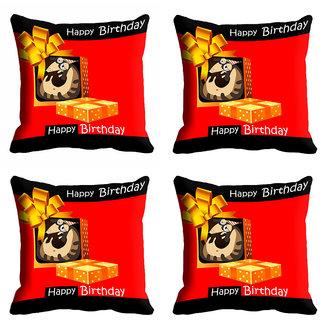 meSleep Red Happy Birthday Cushion Cover (20x20)