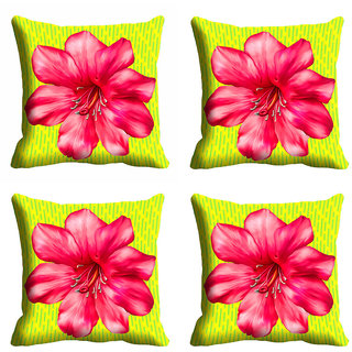 meSleep Pink Flower Cushion Cover (12x12)