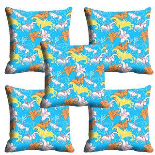 meSleep Blue Floral Cushion Cover (12x12)