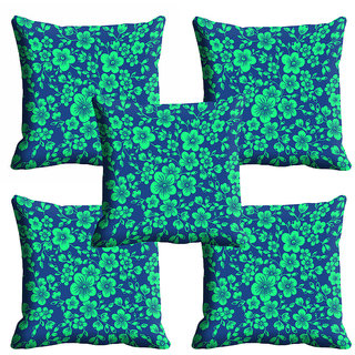 meSleep Green Floral Cushion Cover (12x12)