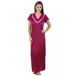 11f7421ea1 Buy Keoti Wine satin Full Nighty - (DN-SFGNF-22) Online - Get 62% Off