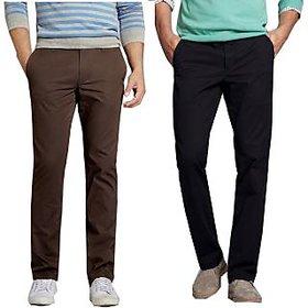 Black  Brown Regular Fit Casual Trouser For Men (Pack Of 2)
