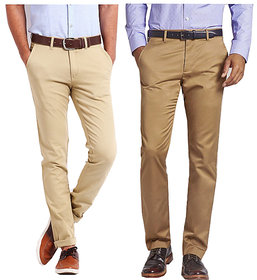 Beige  Brown Regular Fit Casual Trouser For Men (Pack Of 2)