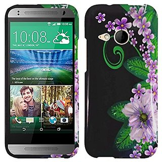 HR Wireless Design Cover for HTC One Remix M8 Mini - Retail Packaging - Green Flower